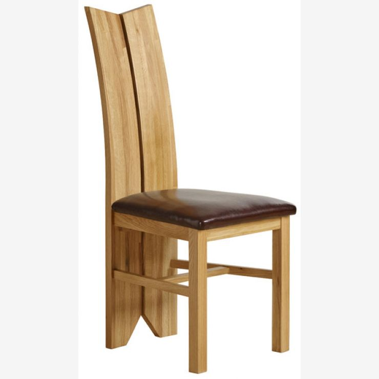 Tulip Natural Solid Oak and Brown Leather Dining Chair - Image 4