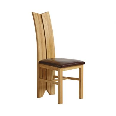Tulip Design Solid Oak Dining Chair Frame + Chair Pad - Brown Leather