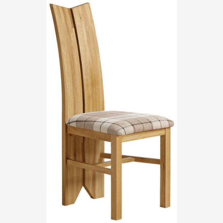 Tulip Natural Solid Oak and Check Brown Fabric Chair