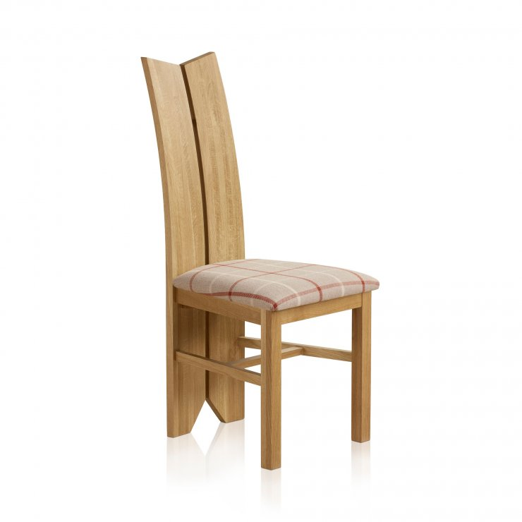 Tulip Natural Solid Oak and Check Natural Fabric Dining Chair - Image 2