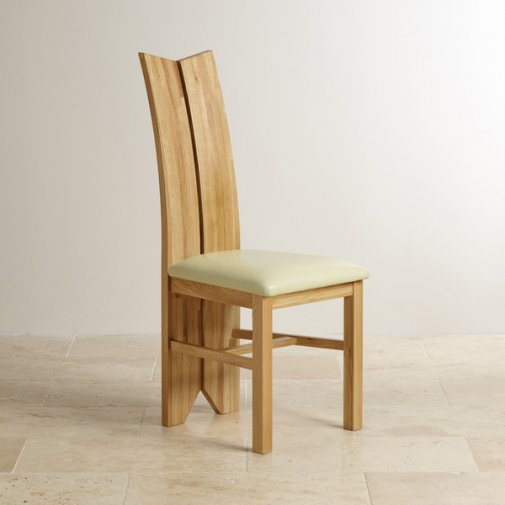 Tulip Natural Solid Oak and Cream Leather Dining Chair