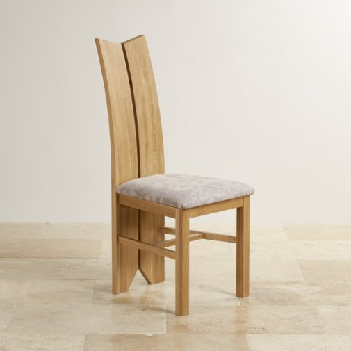 Tulip Natural Solid Oak and Patterned Silver Fabric Dining Chair