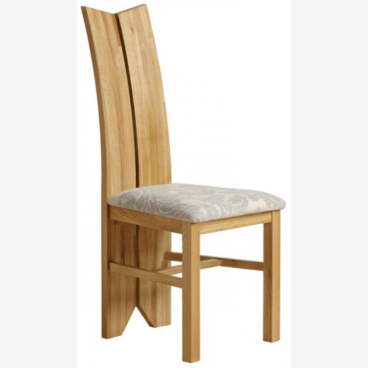 Tulip Natural Solid Oak and Patterned Grey Fabric Dining Chair - Image 3