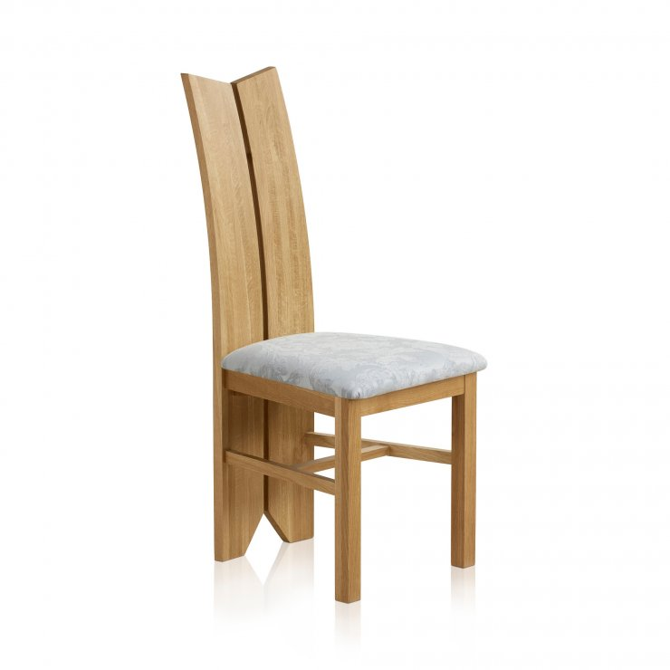 Tulip Natural Solid Oak and Patterned Silver Fabric Dining Chair - Image 2
