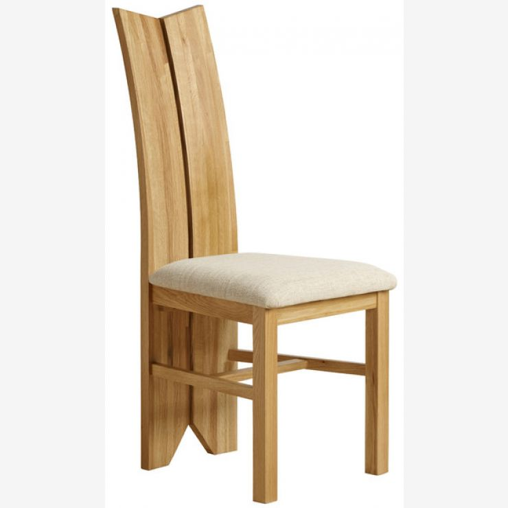 Tulip Natural Solid Oak and Plain Beige Fabric Dining Chair - Image 3