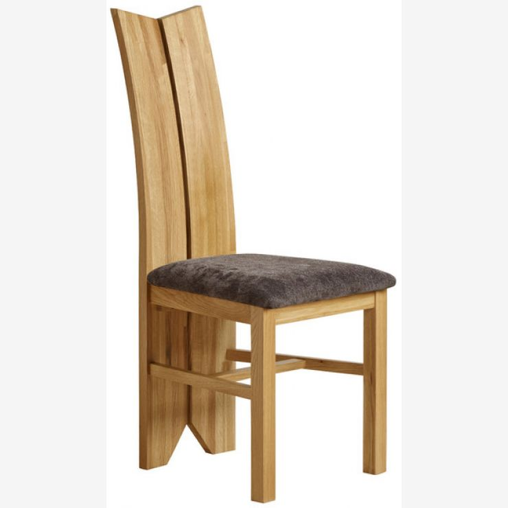Tulip Natural Solid Oak and Plain Charcoal Fabric Dining Chair