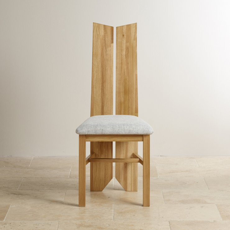 Tulip Natural Solid Oak and Plain Grey Fabric Dining Chair