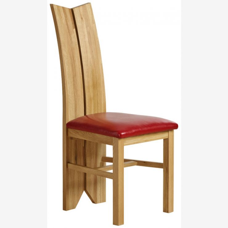 Tulip Natural Solid Oak and Red Leather Dining Chair
