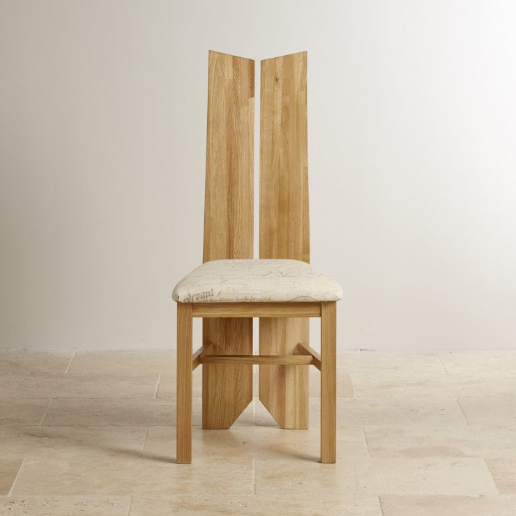 Tulip Natural Solid Oak and Scripted Beige Fabric Chair