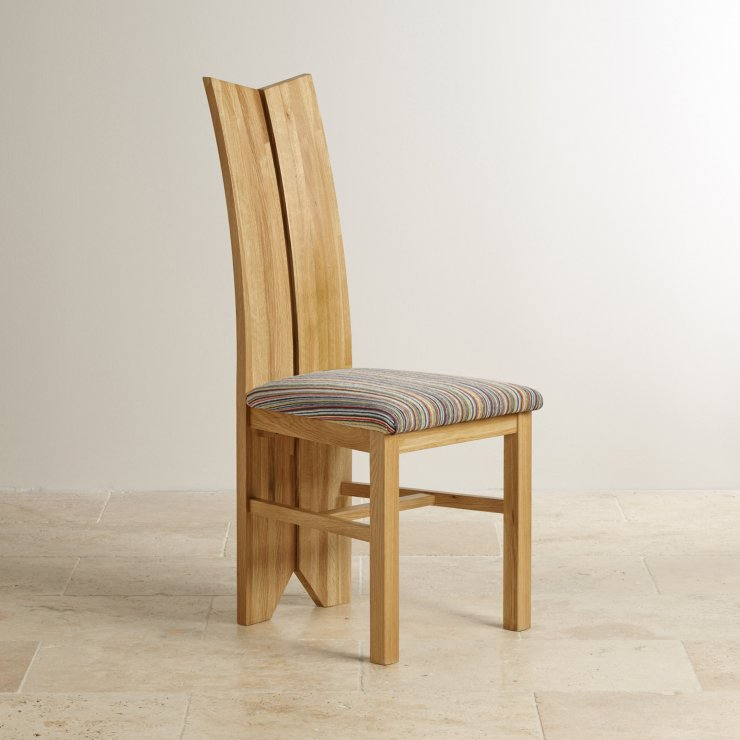 Tulip Natural Solid Oak and Striped Multi-coloured Fabric Chair