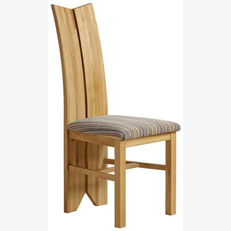 Tulip Natural Solid Oak and Striped Multi-coloured Fabric Chair - Image 4