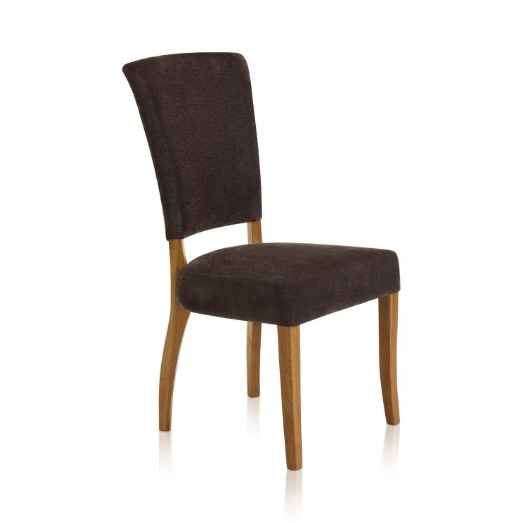 Upholstered Curve Back Plain Charcoal Fabric Chair with Solid Oak Legs - Image 3