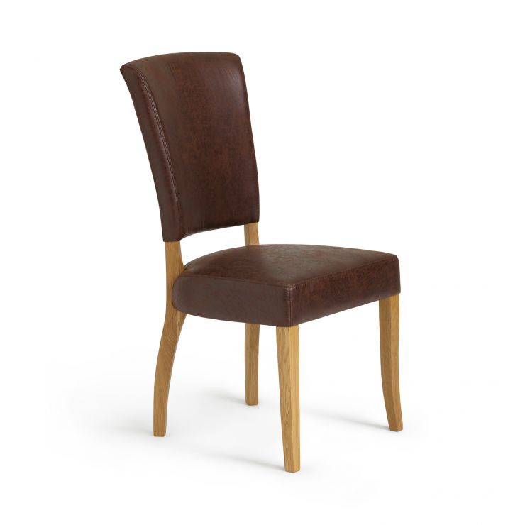 Upholstered Curve Back Brown Suede-Effect Fabric Chair with Solid Oak Legs