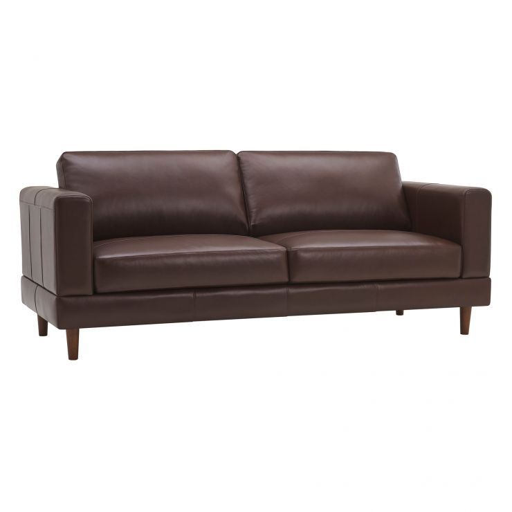 Versailles Walnut Brown Leather 3 Seater Sofa