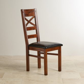 Victoria Solid Hardwood and Black Leather Dining Chair