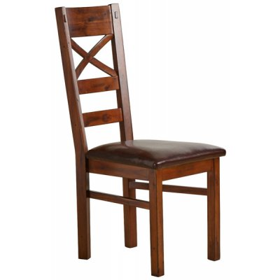 Victoria Solid Hardwood and Brown Leather Dining Chair