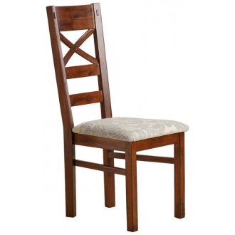 Victoria Solid Hardwood and Patterned Grey Fabric Dining Chair