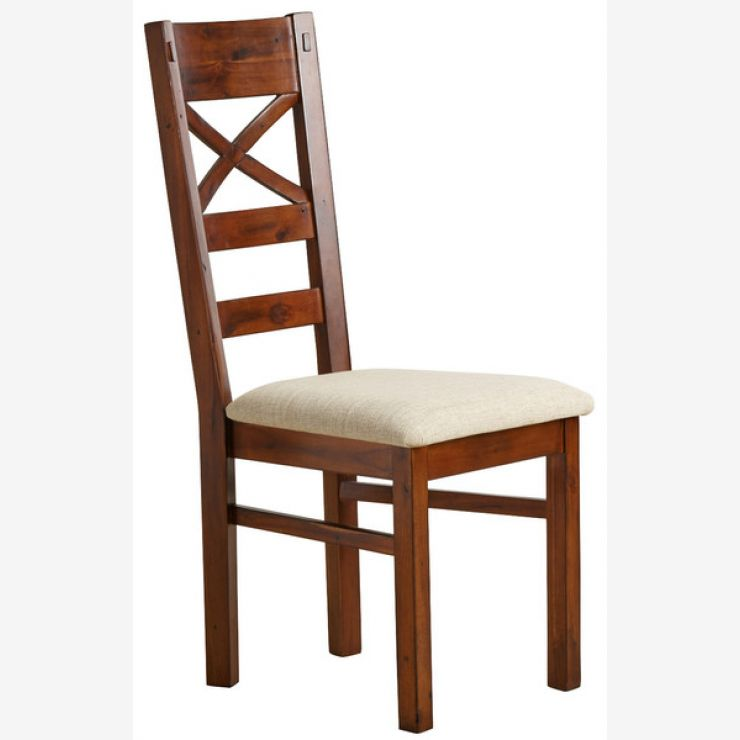 Victoria Solid Hardwood and Plain Beige Fabric Dining Chair - Image 4