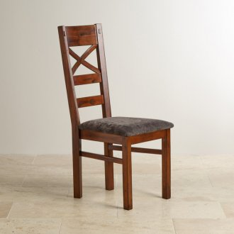 Victoria Solid Hardwood and Plain Charcoal Fabric Dining Chair
