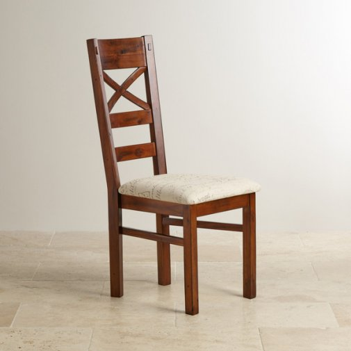 Victoria Solid Hardwood and Scripted Beige Fabric Chair
