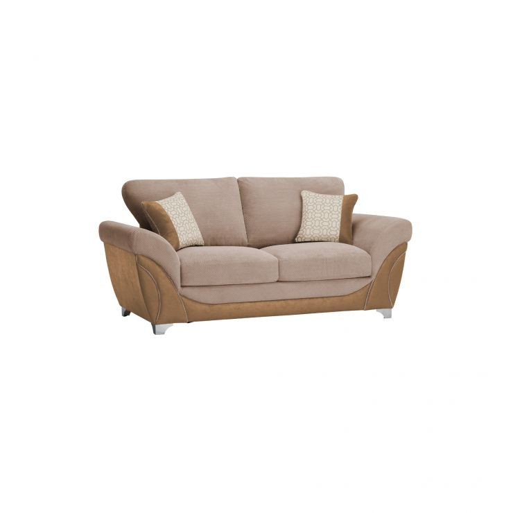 Vienna 2 Seater Sofa Bed with Standard Mattress in Aero Fawn Fabric with Cream Scatters - Image 8