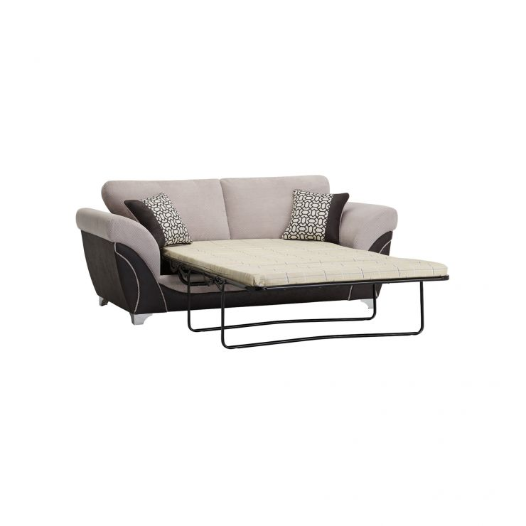 Vienna 2 Seater Sofa Bed with Standard Mattress in Aero Silver Fabric with Black Scatters - Image 10