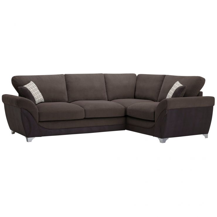 Vienna Left Hand High Back Corner Sofa in Aero Charcoal Fabric with Silver Scatters - Image 8