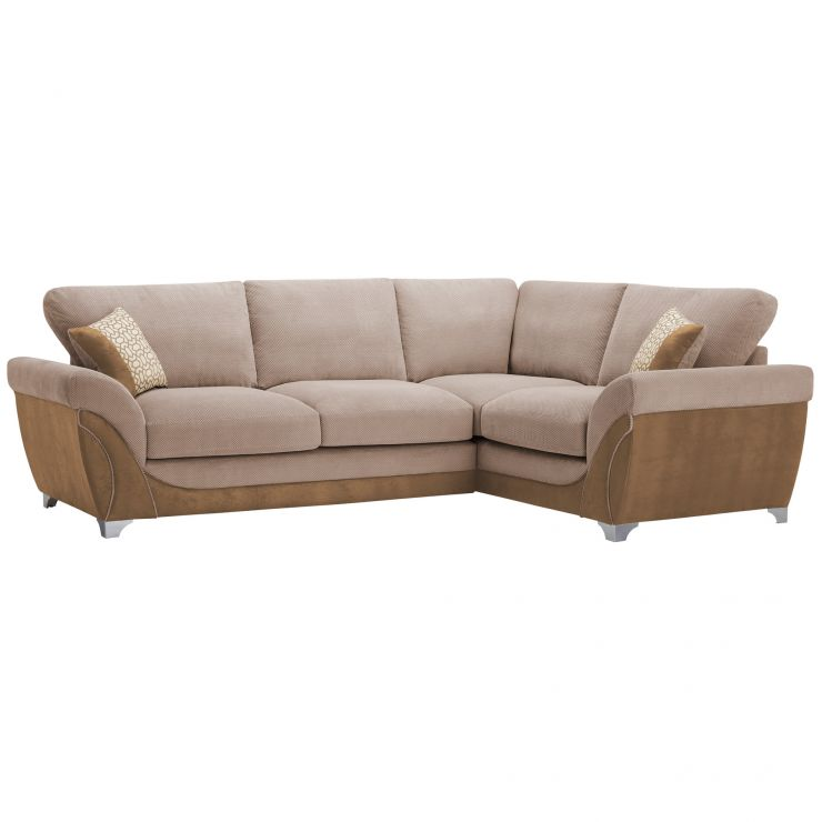 Vienna Left Hand High Back Corner Sofa in Aero Fawn Fabric with Cream Scatters - Image 7