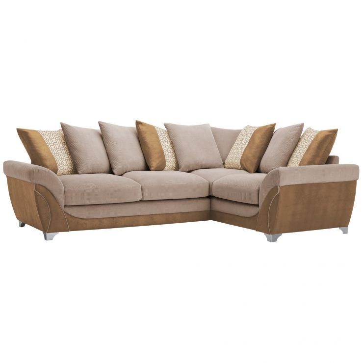 Vienna Left Hand Pillow Back Corner Sofa in Aero Fawn Fabric with Cream Scatters - Image 5