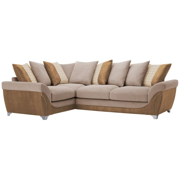 Vienna Right Hand Pillow Back Corner Sofa in Aero Fawn Fabric with Cream Scatters - Image 7