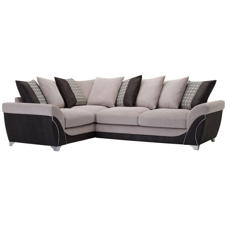 Vienna Right Hand Pillow Back Corner Sofa in Aero Silver Fabric with Black Scatters - Image 6