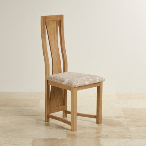Waterfall Natural Solid Oak and Beige Patterned Fabric Dining Chair