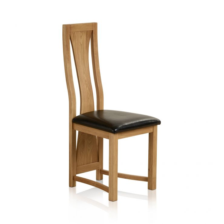 Waterfall Natural Solid Oak and Black Leather Dining Chair