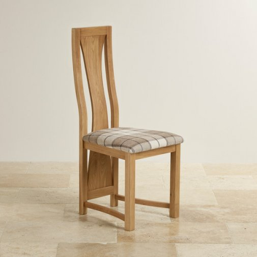 Waterfall Natural Solid Oak and Checked Brown Fabric Dining Chair