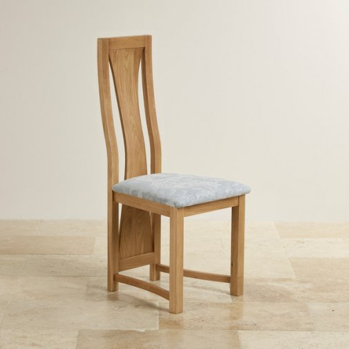 Waterfall Natural Solid Oak and Patterned Duck Egg Fabric Dining Chair