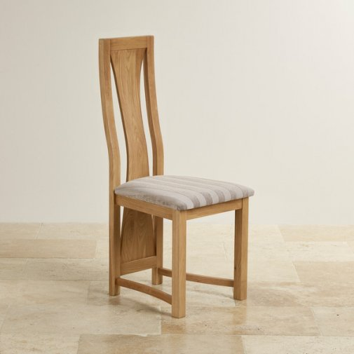 Waterfall Natural Solid Oak and Striped Silver Fabric Dining Chair