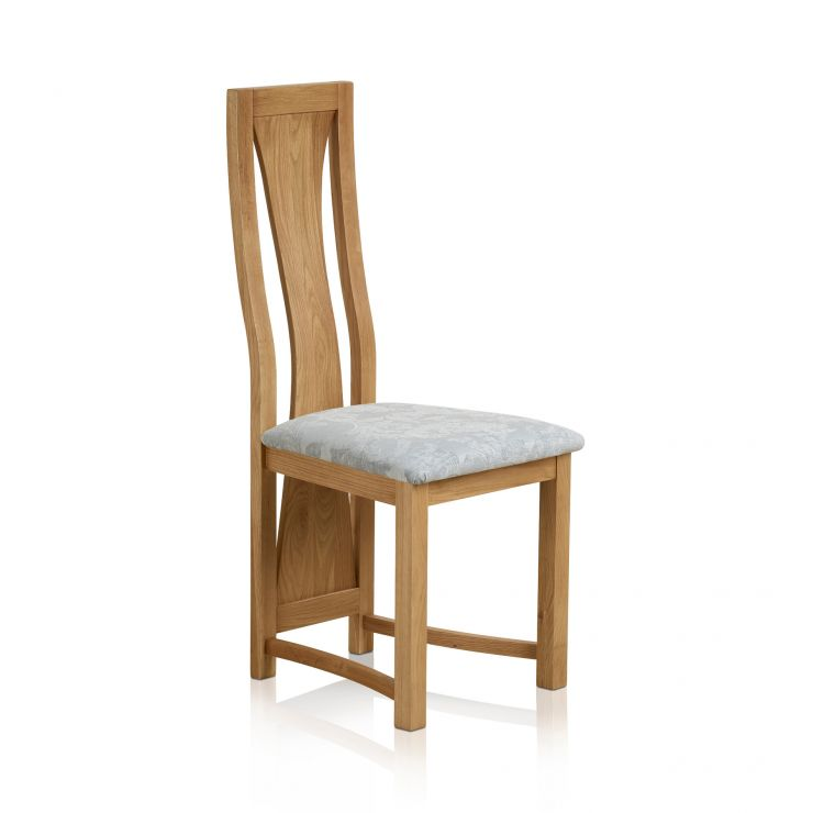 Waterfall Natural Solid Oak and Patterned Duck Egg Fabric Dining Chair - Image 3