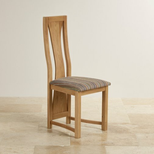 Waterfall Natural Solid Oak and Striped Multi-Coloured Fabric Dining Chair