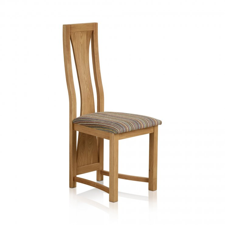 Waterfall Natural Solid Oak and Striped Multi-Coloured Fabric Dining Chair - Image 1