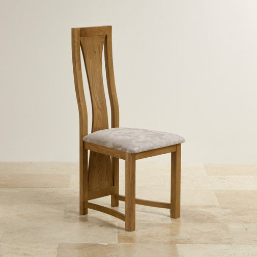 Waterfall Rustic Solid Oak and Patterned Silver Fabric Dining Chair