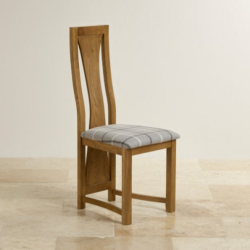 Waterfall Rustic Solid Oak and Check Granite Fabric Dining Chair