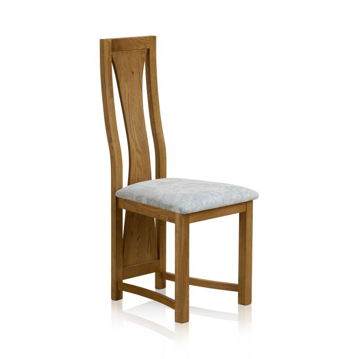 Waterfall Rustic Solid Oak and Patterned Duck Egg Fabric Dining Chair - Image 1