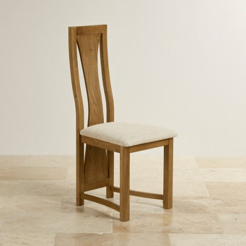 Waterfall Rustic Solid Oak and Plain Beige Fabric Dining Chair