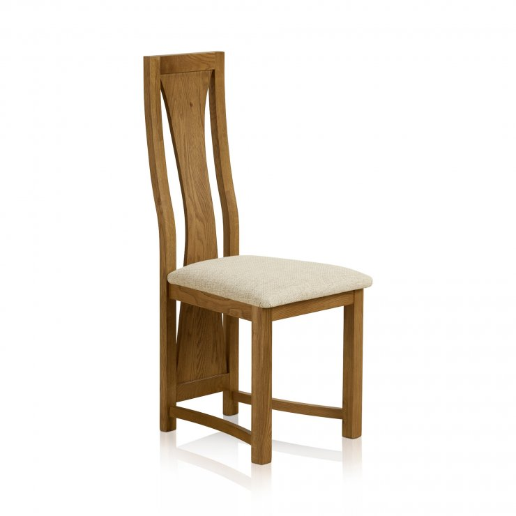 Waterfall Rustic Solid Oak and Plain Beige Fabric Dining Chair - Image 2