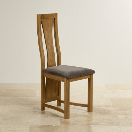 Waterfall Rustic Solid Oak and Plain Charcoal Fabric Dining Chair