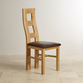 Wave Back Natural Solid Oak and Brown Leather Dining Chair