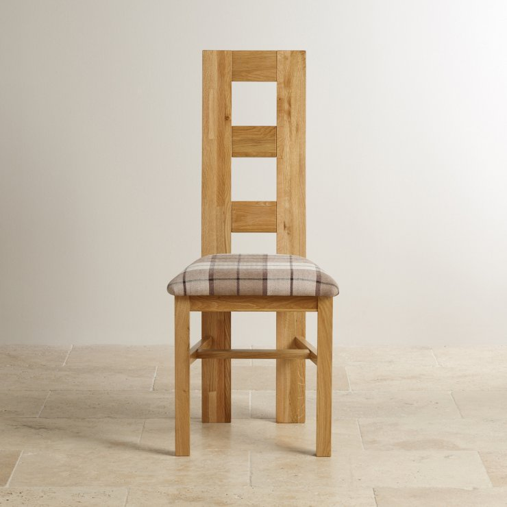 Wave Back Natural Solid Oak and Check Brown Fabric Chair