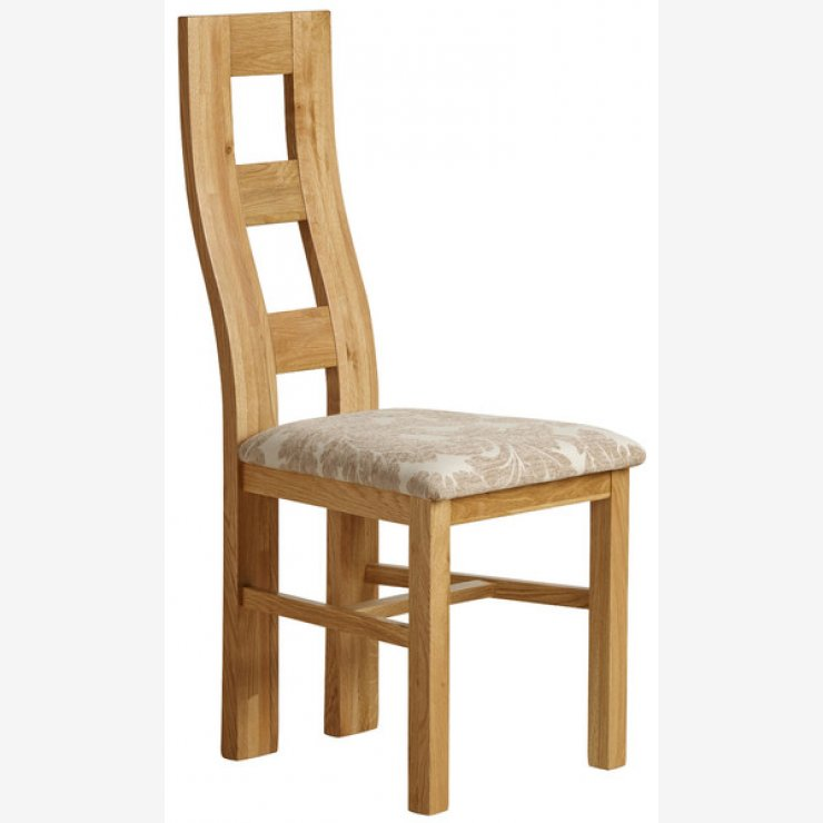 Wave Back Natural Solid Oak and Patterned Beige Fabric Dining Chair - Image 4