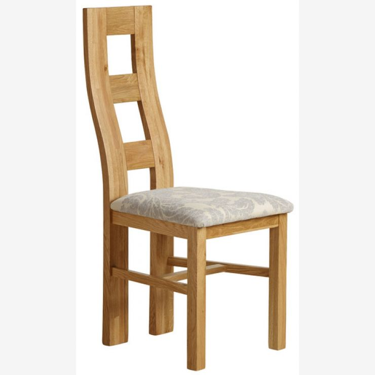 Wave Back Natural Solid Oak and Patterned Grey Fabric Dining Chair - Image 4