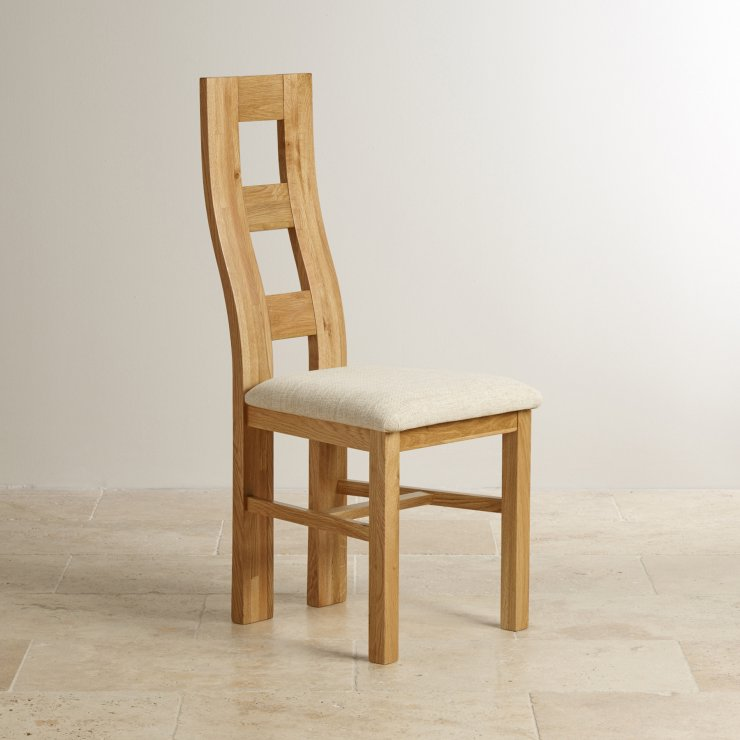 Wave Back Natural Solid Oak and Plain Beige Fabric Dining Chair - Image 3